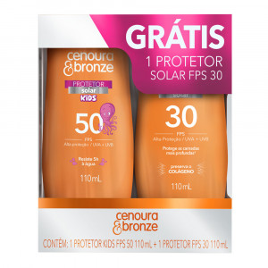 Kit Protetor Solar Cenoura e Bronze Kids FPS50 + FPS30 110mL