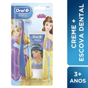 Kit Escova Dental Infantil Oral-B Stages Suave+Creme Dental +3