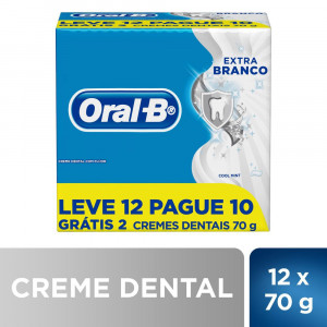Kit 12x70g Creme Dental Oral-B Extra Branco