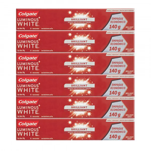 Kit 6x140g Creme Dental Colgate Luminous White Brilliant Mint